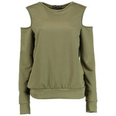 Boohoo Layla Cold Shoulder Sweatshirt ($10) ❤ liked on Polyvore featuring tops, hoodies, sweatshirts, off the shoulder crop top, cropped cami, green top, off the shoulder tops and green cami