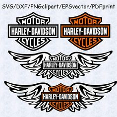 Harley Davidson Logo Wings SVG harley davidson dxf harley