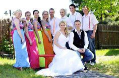 Rainbiw groomsmen and bridesmaides