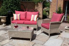 Florida Lounging Suite In Natural Effect Rattan & Cranberry Fabric