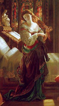 Madeleine after Prayer, detail (1868). Daniel Maclise (1806–1870).  19th-century Pre-Raphaelite art.