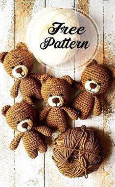 Crochet Amigurumi Free Patterns, Crochet Bear, Crochet Dolls, Crochet Teddy Bear Pattern Free, Blog Crochet, Crochet Animals, Knitted Dolls, Crochet Teddy Bears, Teddy Bear Patterns