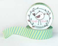 Striped Washi Tape - green and blue printed decorative tape, 1 roll, 15mm x 10m, cute tape for planner or scrapbooking