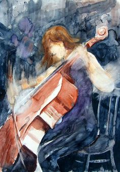 the cellist My Arts, Paintings, Expressionism, Figurative, Paint, Painting Art, Painting, Painted Canvas, Drawings