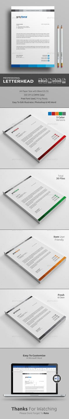 Buy Letterhead by upra on GraphicRiver. Corporate Letterhead Template with super modern and Corporate look. Corporate Letterhead page designs are very easy t. Letterhead Printing, Stationery Printing, Letterhead Design, Letterhead Template, Stationery Items, Stationery Design, Page Design, Web Design, Graphic Design
