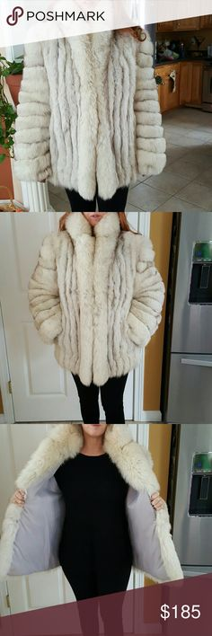 """Saga Blue Fox Fur Coat... Saga Blue Fox Fur Coat...size medium sleeve from shoulder to wrist 24"""". Length from collar to tailbone 32"""". Beautiful coat and so warm. Jackets & Coats"""
