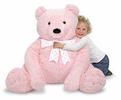 """My new best friend is a real softee."" Melissa & Doug 3980 Jumbo Pink Teddy Bear-Plush. creativityinstitute.com"