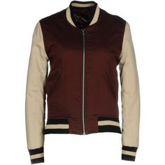 Isabel Marant Étoile Jacket (525 CAD) ❤ liked on Polyvore featuring outerwear, jackets, maroon, brown bomber jacket, padded jacket, bomber jackets, zip jacket and zipper bomber jacket