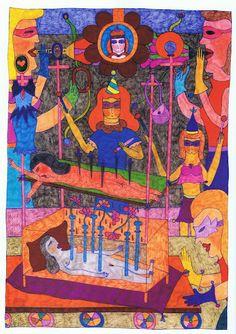 Marilena Pelosi, Sans titre Née en 1957 à Rio de Janeiro, Marilena commence à dessiner à l'age de 16 ans, lors d'une convalescence. Quitte le Brésil pour échapper à un marriage contrait avec un prêtre vodou brésilien. Elle vit et travaille actuellement en France.