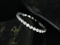 Petite Bubbles 14kt White Gold  Bezel Diamond by RosadosBox ring for wedding band