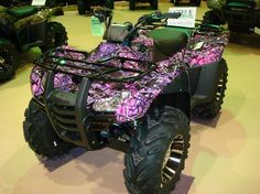 Muddy Girl Camouflage, Pink Camo, Pink Camoulfage four wheeler Muddy Girl Camo, Everything Country, Bossier City, Hunting Girls, Women Hunting, 4 Wheelers, Toys For Girls, Girl Toys, My Ride