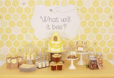 What will it bee? Baby shower dessert table #babyshower #bumblebee #desserttable