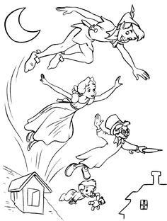 Disney coloring page - Peter Pan, Wendy, John and Michael