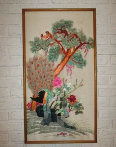 Items Similar To Vintage Chinese Asian Silk Embroidery Panel Wall Art Hanging Embroidered Trees Flowers On Etsy