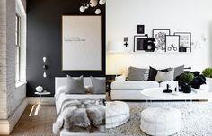 Tendência de decoração em 2016: Tons neutros - preto, branco, cores orgânicas;