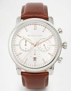 Michael Kors - Landaulet MK8372 - Montre chronographe à bracelet en cuir marron