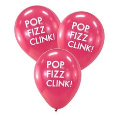 Pink Pop Fizz Clink Balloons , Bridal Shower, Engagement Party, Baby Shower, New Year's Eve, Party, Balloons, Balloon, Yellowdotpaper by yellowdotpaper on Etsy https://www.etsy.com/listing/228579181/pink-pop-fizz-clink-balloons-bridal