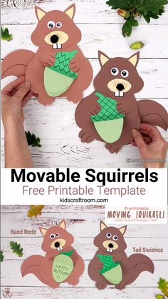 Make an adorably movable squirrel craft. These cheeky woodland animal craft nods its head, swishes its tail and holds an acorn card where you can write a surprise message. Such a fun Autumn craft for kids. Ocean Animal Crafts, Octopus Crafts, Farm Animal Crafts, Bear Crafts, Animal Crafts For Kids, Winter Crafts For Kids, Craft Kids, Easy Toddler Crafts, Woodland Animals