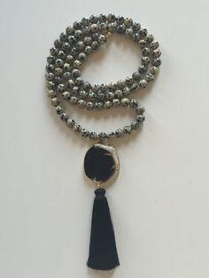 Long Dalmation Jasper Bead and Black White Druzy Pendant with Silk Tassel Boho Beaded Necklace