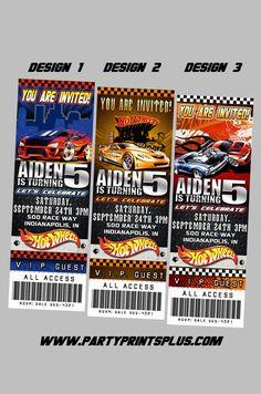 Hot Wheels Invitations Personalized Theme Birthday Party Ticket Invites, self print.. $11.99, via Etsy.