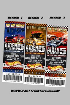 Hot Wheels Invitations Personalized Theme Birthday Party Ticket Invites, self print.. $11.99, via Etsy.