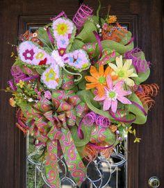 pinterest spring wreaths | Deco Mesh Wreaths / Deco Mesh SPRING BUTTERFLY WREATH by decoglitz on ...