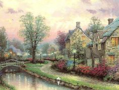 "Lamplight Lane - 1993                Quaint English cottages running along a footpath, a lively stream spanned by an ornate Victorian bridge, sunlight breaking through clouds. It seems too perfect to be real; and yet, I painted ""Lamplight Lane"" almost completely on location, at a charming little village in the English Cotswolds that looked very much like this.   -- Thomas Kinkade"