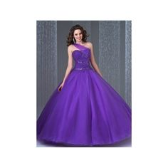 Elegant Ball Gown One Shoulder Purple Tulle Sequin Quinceanera Prom Dress featuring polyvore women's fashion clothing dresses purple prom dresses one sleeve dress one shoulder dresses tulle dress sequined dresses