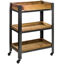 3 Tier Rustic Wooden Rolling Storage Cart Rolling Storage Cart Wood And Metal Farmhouse Furniture