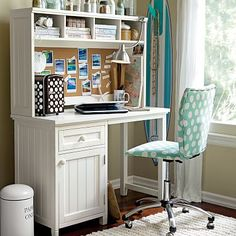 Beadboard Space-Saving Desk + Hutch #pbteen