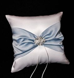 Dusty Blue Wedding Ring Bearer Pillow