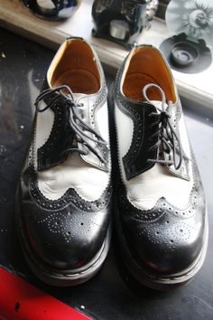 Doc Martens Black and White Spectators by GypsyCreamMachine Cute Shoes, Tap Shoes, Me Too Shoes, Dance Shoes, Dr. Martens, Doc Martens Black, Stitch Fit, Oxford White, Vintage Shoes