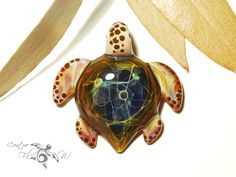 Glass Turtle Rainbow Earth Turtle Pendant by CreativeFlowGlass