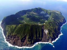 Aerial view of Aogashima Island, the most isolated inhabited island of the Izu archipelago, Japan