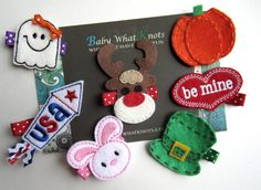 Holiday Pack Hair Clips Christmas Thanksgiving by BabyWhatKnots