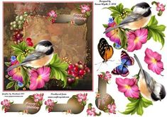 Bird Blossom Topper on Craftsuprint designed by Karen Wyeth - A lovely quick card topper with matching sentiment panel embellishments, bonus butterflies for layering onto the completed card front and bird decoupage. xk - Now available for download!