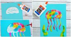 Jellyfish Salt Painting Activity For Kids - I Heart Arts n Crafts Preschool Art Activities, Painting Activities, Easy Crafts For Kids, Art For Kids, Children Crafts, Kid Crafts, Art N Craft, Diy Art, Edible Finger Paints