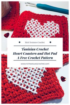 Includes video tutorial! Try some Tunisian Crochet with these Valentines Themed coasters and hot pad! https://richtexturescrochet.com/2018/01/31/tunisian-crochet-heart-coasters-and-hot-pad-a-free-pattern/ #diyhomedecor #diy #crochet #crochetpattern #freecrochetpatterns #valentinesday