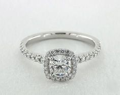 .7ct Cushion Halo Engagement Ring in White Gold - See it in 360 HD SuperZoom!