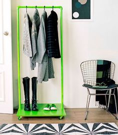 Spray paint a clothes hanging trolley to use in the entrance way for coats and shoes.