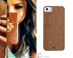 Selena Gomez just posted a new selfie showing off this Case-Mate Rose Gold Glam iPhone 4S/5 Case. You can find this glittery case on Case-Mate's website for $50.  Buy it HERE