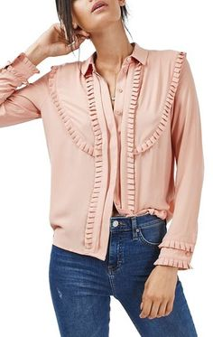 Love this Topshop blush Pleat Ruffle Trim Long Sleeve Blouse. Such a great fit.