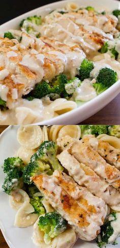 Easy, Creamy, Garlicky, Chicken and Broccoli Pasta Recipe. Great family dinner recipe.