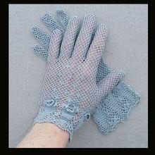 Vintage 1920s Hand Crochet Gloves Pansy Great Gatsby Era Size 6