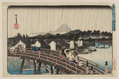 "Utagawa Hiroshige I 歌川広重 ""Shower on Nihonbashi Bridge"" from the series ""Famous Places in the Eastern Capital,"" about 1832–38 「東都名所 日本橋之白雨」 Woodblock print (nishiki-e); ink and color on paper"