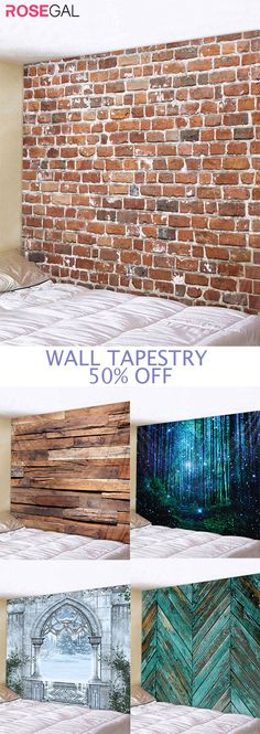 Rosegal brick printed wall tapestry ideas #Rosegal #walltapestry #brick