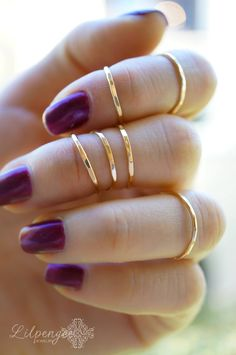mini gold ONE 14K gold fill midi ring set. knuckle by lilpengee, $14.00