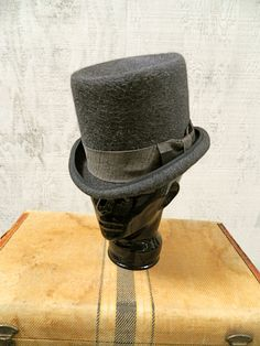 Unique Grey Top Hat / Men's XL Top Hat / Hand blocked Top Hat / stove pipe hat. $220.00, via Etsy.