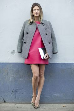 Helena Bordon simple & chic in a pink shift dressed topped w/ a grey jacket #MFW #StreetStyle