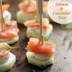 "Salmon & Cucumber Bites -  Peel 2 English cucumbers and slice them into 1"" rounds. Arrange on a platter and refrigerate while preparing the cream cheese.  Place 8oz soft cream cheese, 3tbsp fresh chopped dill, 1tbsp horseradish, and 1tbsp heavy cream in a large bowl. Beat until well combined. Spread 1tsp of cream cheese on top each cucumber slice, top each slice with a bite sized piece of smoked salmon (1 lb total, cut into pieces). Insert a toothpick down the center and serve."